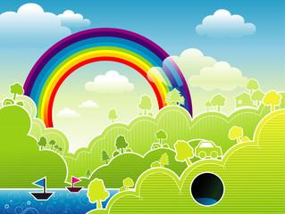 Poster Magic world Rainbow vector composition