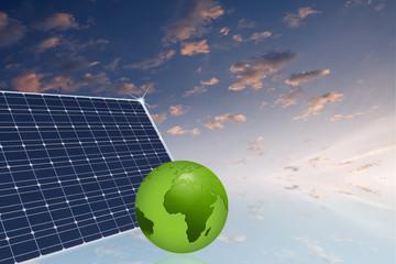 Solarzelle mit Erdkugel