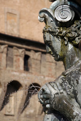 Detail of famous Fountain of Neptune in Bologna