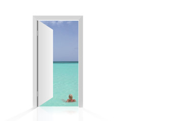 Isolated open door to beach