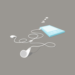 MP3 player and earphone in perspective view