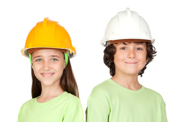 Wall Mural - Couple of children with helmet