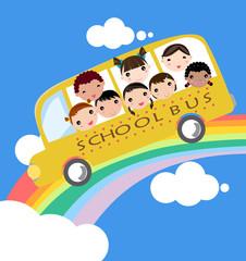 Spoed Foto op Canvas Regenboog school bus