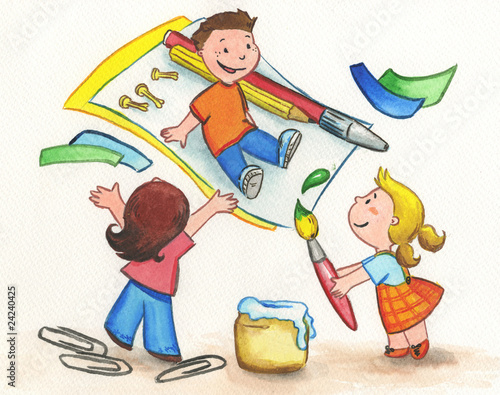 Bambini Che Giocano Con Carta Colori E Colla Stock Photo And