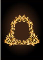 Gold frameworks on a claret background, vector