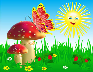 In de dag Magische wereld Summer landscape with mushrooms and a butterfly.
