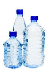 Water bottles isolated on the white background