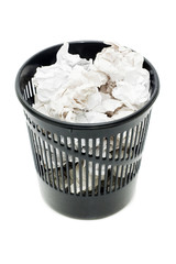 Basket for garbage isolated on the white background