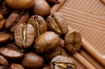 Background from coffee beans and chocolate