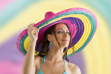 summer girl with sombrero