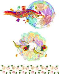 Flower motives in art style