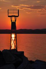 Lighthouse at sunset, island Thassos, Greece