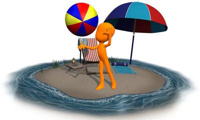 3d orange character on the beach ball