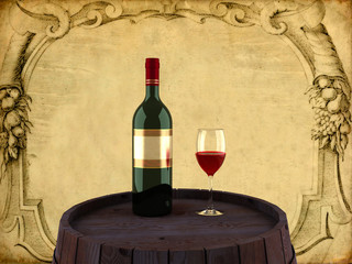 3D a bottle of red wine with a glass