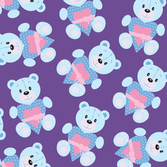 Seamless wallpaper with teddy bear
