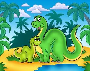 Photo sur Plexiglas Dinosaurs Dinosaur family in landscape