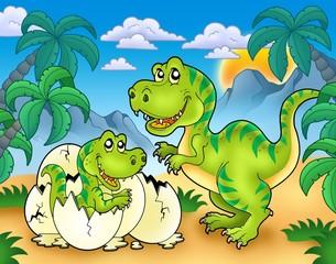 Keuken foto achterwand Dinosaurs Tyrannosaurus rex in landscape