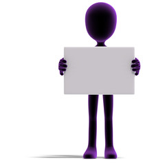 symbolic 3d male toon character show something with a blank sign