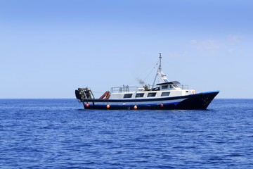 trawler boat working in mediterranean offshore