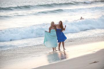 beautiful woman on California beach coast