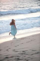 beautiful women on California beach coast