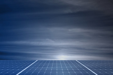 solar panels with cloudy sky