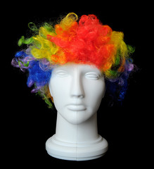 Clown Wig on a Mannequin Head