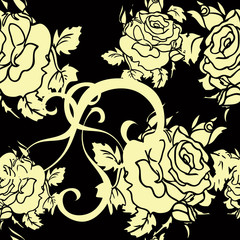 Seamless vector floral background rose retro