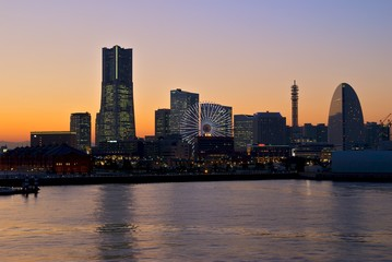 Sunset in Yokohama Harbour