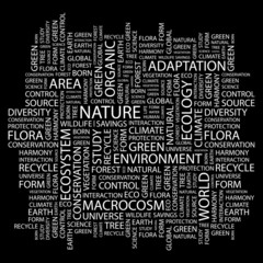 NATURE. Word collage on black background.