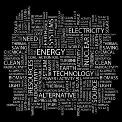ENERGY. Collage with association terms on black background.