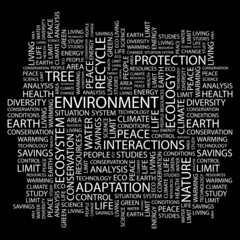 ENVIRONMENT. Wordcloud illustration.