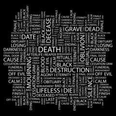 DEATH. Word collage on black background.