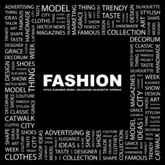FASHION. Square frame with association terms.