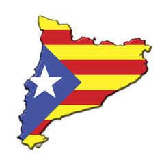 Silueta Cataluña en relieve con colores bandera independentista