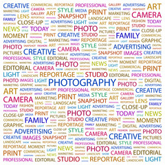 PHOTOGRAPHY. Wordcloud illustration.