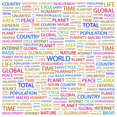 WORLD. Illustration with different association terms.