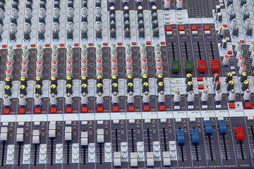 music mixer control button perspective