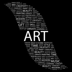ART. Word collage on black background.