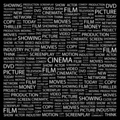 CINEMA. Collage with association terms on black background.
