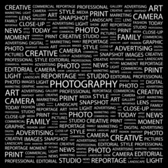 PHOTOGRAPHY. Illustration with different association terms.