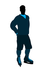 Male Hockey Player Illustration Silhouette