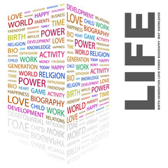 LIFE. Collage with association terms on white background.