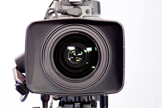 Professional video lens isolated on white background