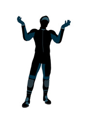 African American Male Motorcycle Rider Silhouette