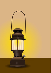 Detailed antique lantern vector illustration