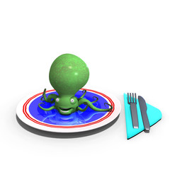 cute and funny sepia animal served on a dish as a meal. 3D rende