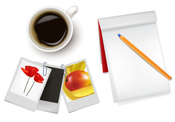 Photo frames, notebook, pen and a cup of coffee. Vector.