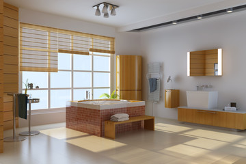 3d render interior of modern bathroom