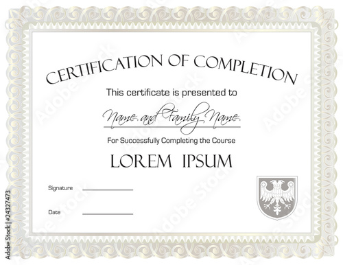 """Certificate Of Completion Template"""" Stock Image And Royalty-Free"""